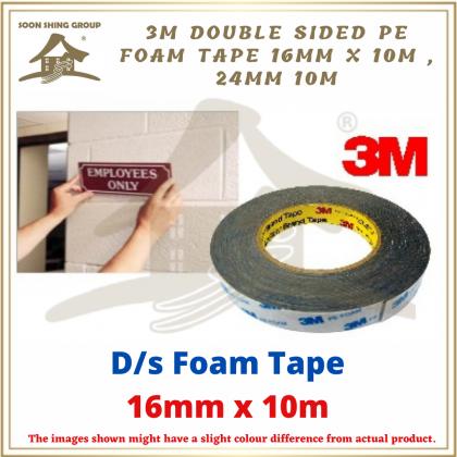 3M DOUBLE SIDED PE FOAM TAPE 16mm x 10m , 24mm x 10m